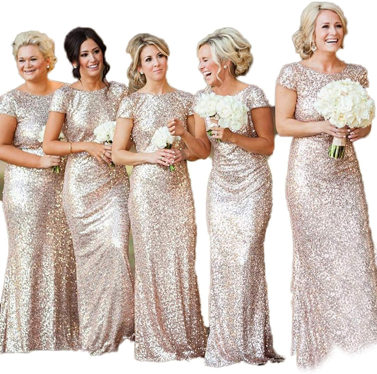 Bling Sequins High Neck Long Bridesmaid Dresses Sheath Prom Dresses Maid Of Honor Dresses Formal Evening Gowns Party Dress