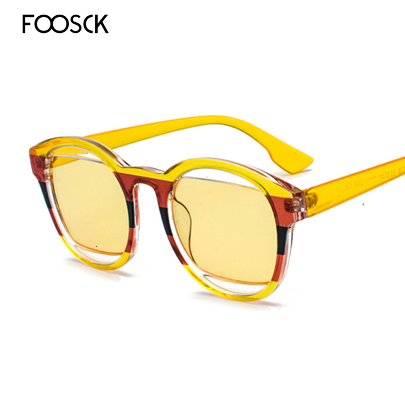 FOOSCK Women Brand Designer Oversized Square Sunglasses Retro Sunglass Rectangle Sun Glasses Female Vintage Shades Eyewear