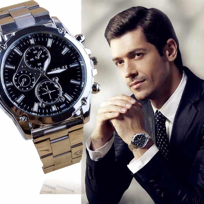 Pria Warna Baru Pria Bisnis Stainless Steel Band Mesin Sport QUARTZ Watch Relogio Masculino Male Clock