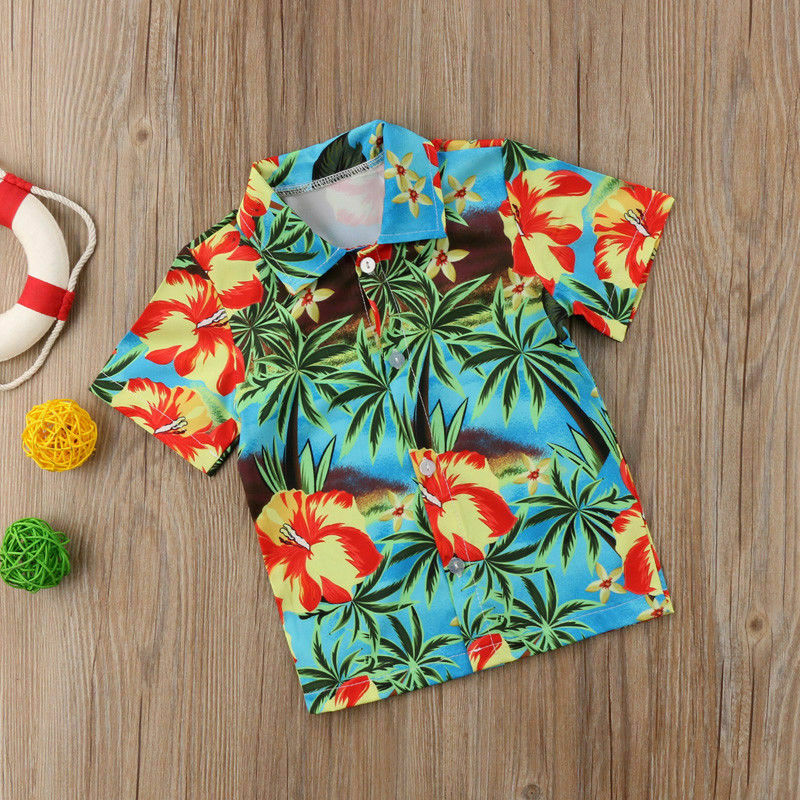 Baby Shirt Blouse Tops Short-Sleeve Boys Clothes Printed Toddler Kids Children Summer