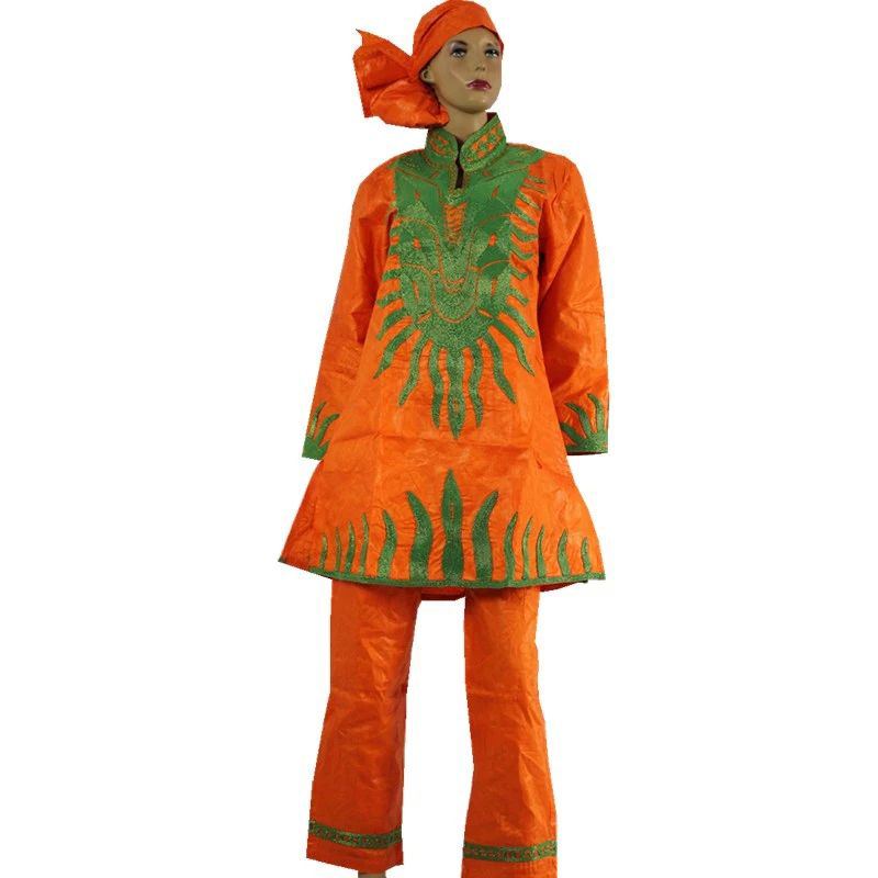 MD Green Orange Pants Suit For Women Plus Size South African Ladies Clothes Shirt Trousers Set Traditional Dashiki Attire Female