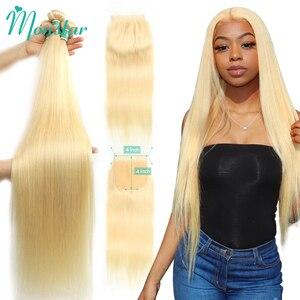 Monstar 613 блонд пучок с 4x4 кружева закрытие перуанские прямые Remy человеческие волосы 28 30 32 34 36 дюймов 3 пряди с 613 закрытие
