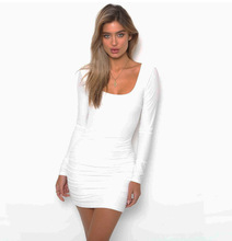 New Dresses Woman Party Night Open Back Long Sleeve Sexy Nightclub Bag Hip Dress Female Bodycon O-neck Women Clothes