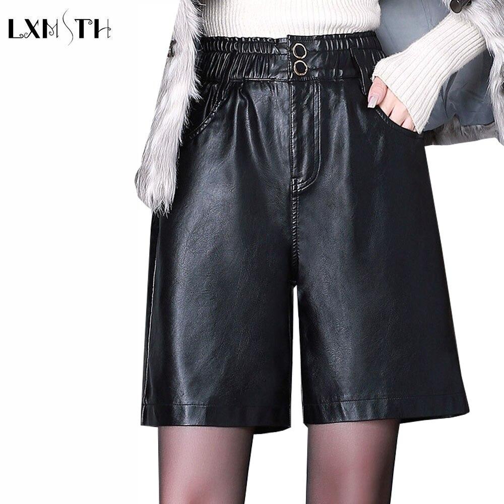 LXMSTH Plus Size Pu Leather Shorts Women Autumn Winter Elastic Waist Black Knee Length High Waist Straight Shorts Female 4XL
