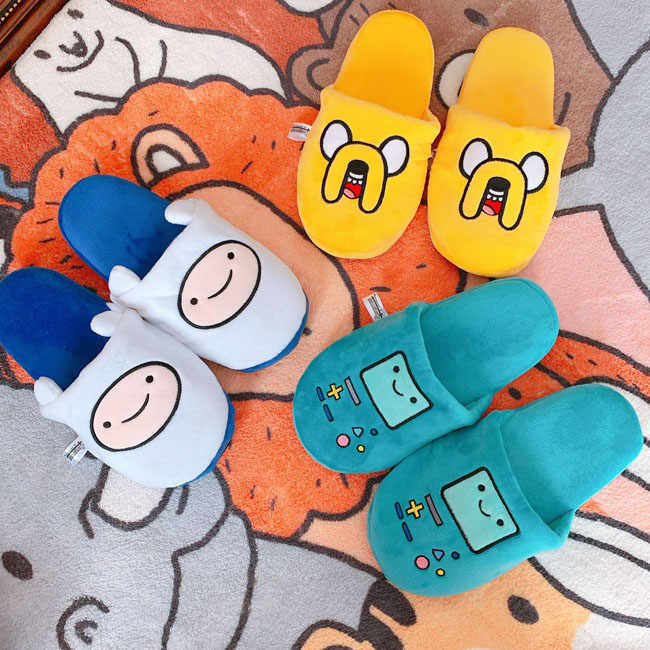 Women indoor Slippers Adventure Time Slippers Lovers Jake BMO Warm Woman Slippers  Finn Plush Shoes Home House Slippers Children Slippers  - AliExpress