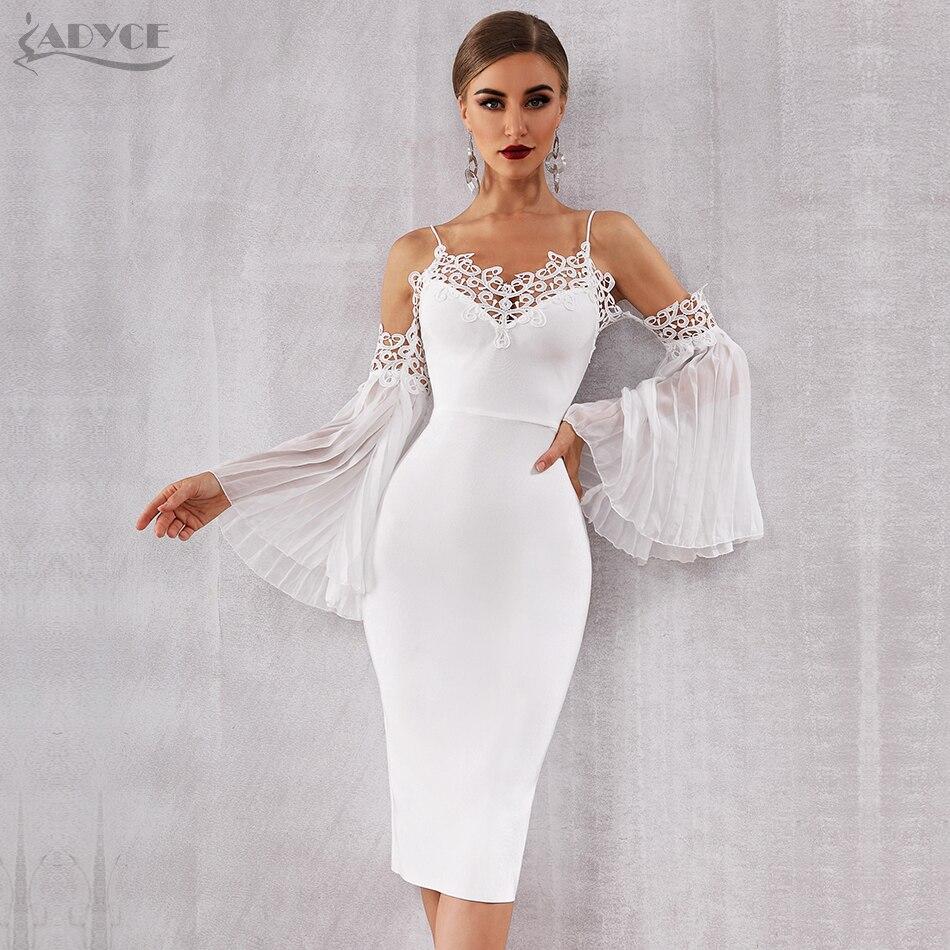 Adyce 2020 New Autumn Women Bandage Dress Sexy Flare Sleeve White Lace Midi Dress Vestidos Elegant Celebrity Evening Party Dress