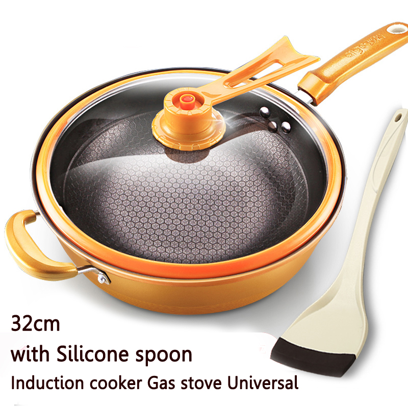 29%,32cm Iron Frying Pan Heat-preserve Vacuum Pot Boiling Cease-fire Health Preservation Pan Cooking Wok Pan With Upright Lid