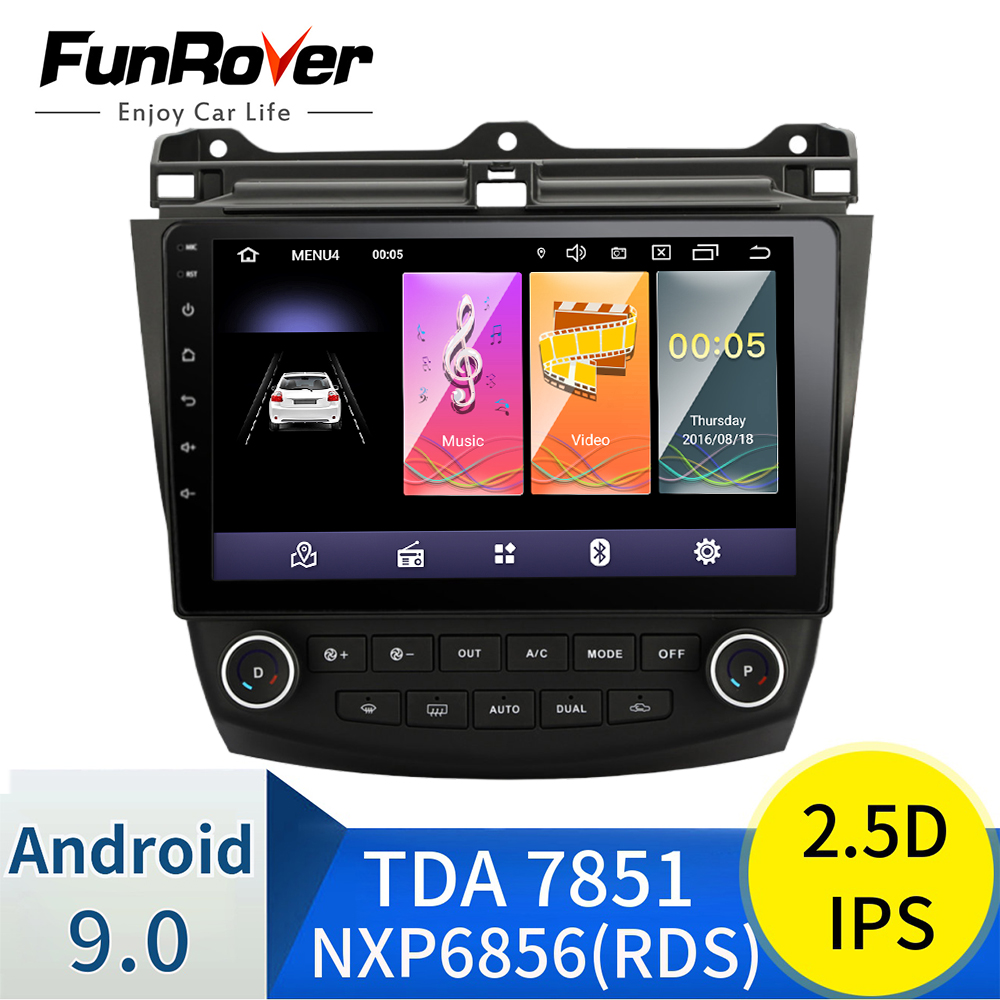 Funrover 2.5D+ IPS <font><b>Car</b></font> <font><b>Radio</b></font> Multimedia Android 9.0 for <font><b>Honda</b></font> <font><b>Accord</b></font> 7 2003-2007 <font><b>car</b></font> dvd audio stereo player gps Navigation wifi image