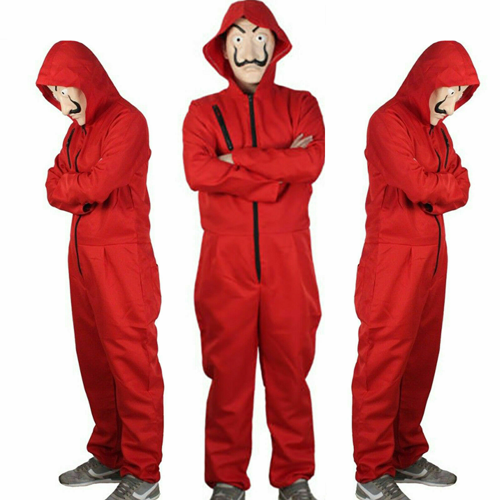 Fashion Salvador Dali La Casa De Papel Money Heist Red   Jumpsuit   Mask Costume Cosplay Halloween Festival Solid   Jumpsuit