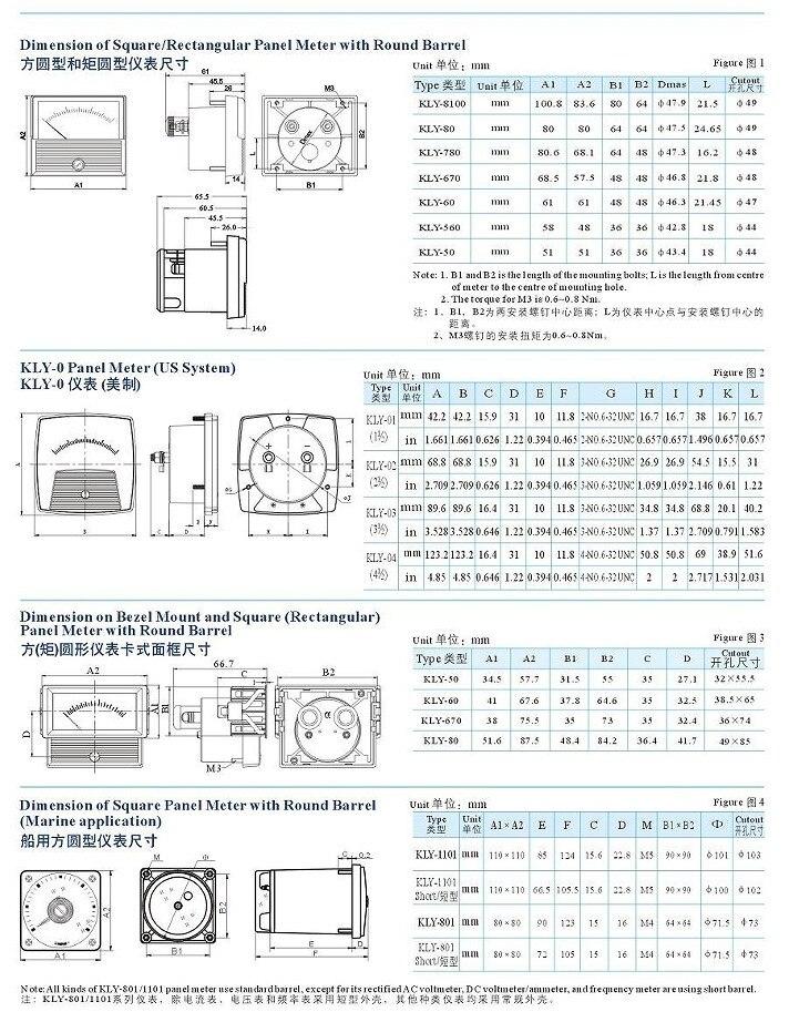 Amperímetro do instrumento KLY-80 voltímetro 2000a KLY-C80