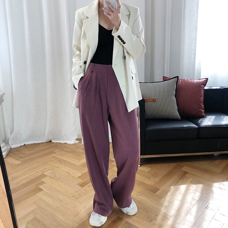 2020 Women Spring Wide Leg Long Pants Pure Color Women High Waist Fashion Straight Pants Chic Women Casual Pants Female Trousers
