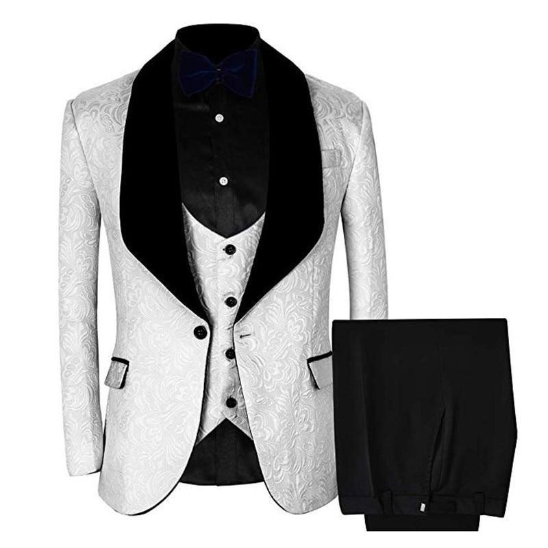 3 Piece Men's Blazer, Wedding Suit, Slim Fit  Jacket + Groom's Office Jacket Party Suits, Korean Men's Pants Suit 3XL Vest