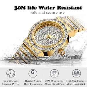 Image 4 - MISSFOX Small Womens Watch FF Unique Products Luxury Brand Diamond Watch Women Waterproof Analog 18K Gold Classic Iced Out Watch