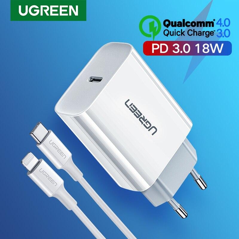 Ugreen Quick Charge 4,0 de 3,0 QC PD cargador 18W QC4.0 QC3.0 USB tipo C cargador rápido para iPhone 11 X Xs X 8 Xiaomi Teléfono de cargador