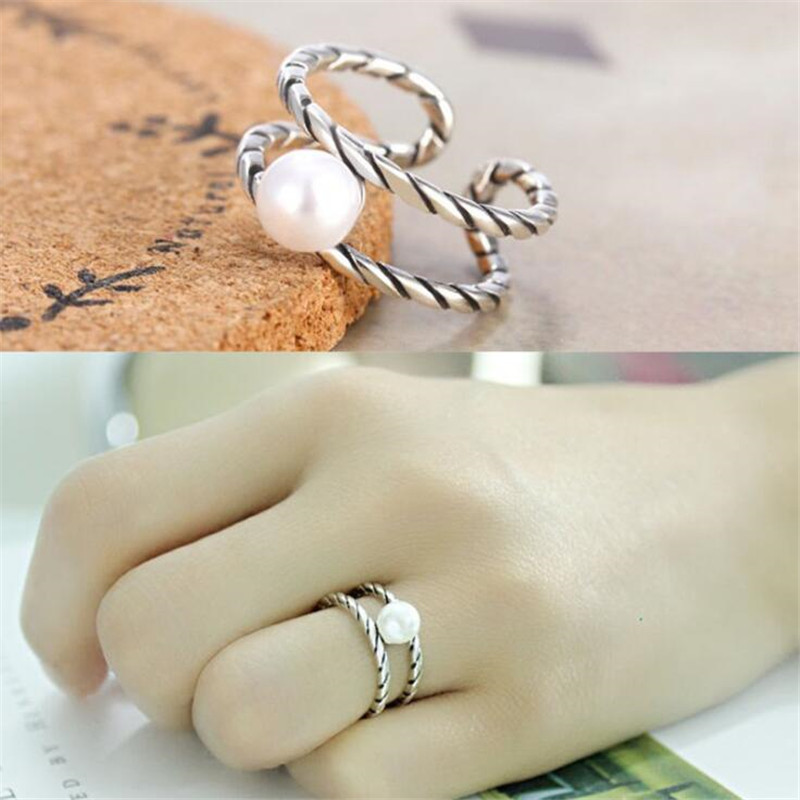 New Retro Simple Fashion Twist 925 Sterling Silver Jewlery Personality Double-layer Literary Pearl Creative Opening Rings  SR640