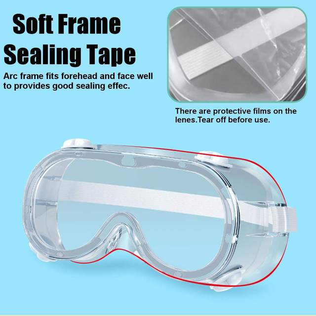 2 Type Protective Safety Goggles Wide Vision Disposable Indirect Vent Prevent Eye Mask Anti-Fog Splash Goggles 2