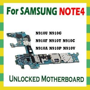 Image 2 - ปลดล็อกเมนบอร์ดสำหรับ Samsung Galaxy หมายเหตุ 4 N910F N910C N910U N910A N910P N910V N910G N910T เมนบอร์ด 32GB Logic BOARD android