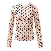 Primavera/Verano moda Luna impresión delgada parte posterior alta elasticidad manga larga delgada camiseta ropa interior mujer