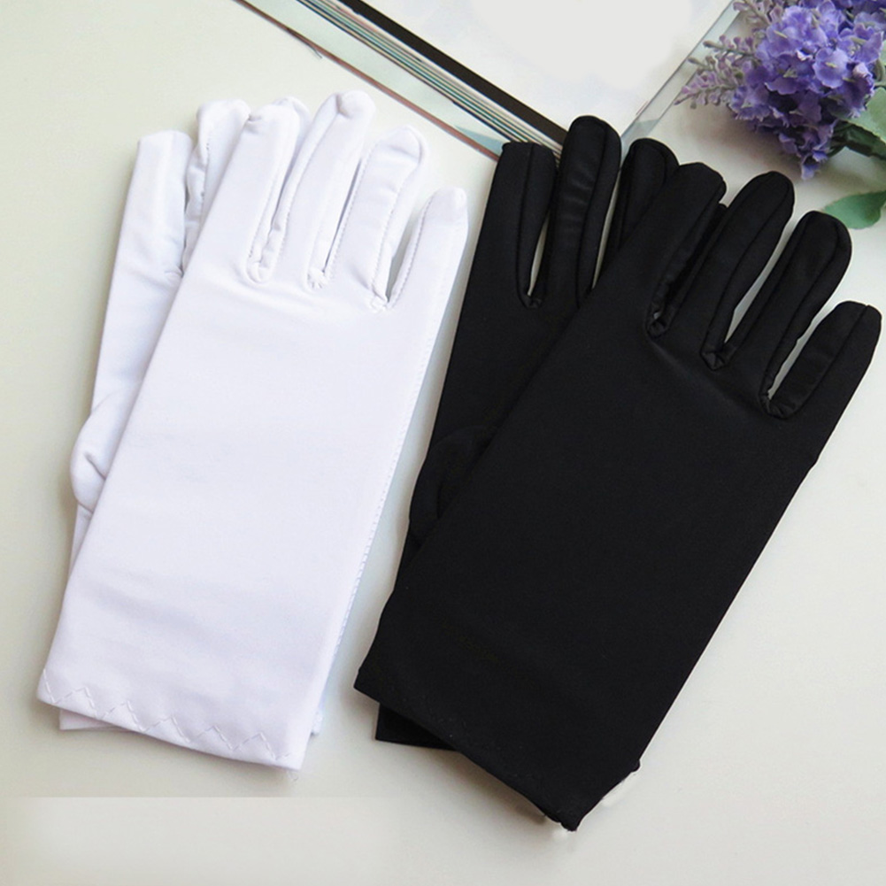 1 Pair Spring Summer Spandex Gloves Women Black White Etiquette Thin Stretch Gloves Dance Tight White Jewelry Gloves