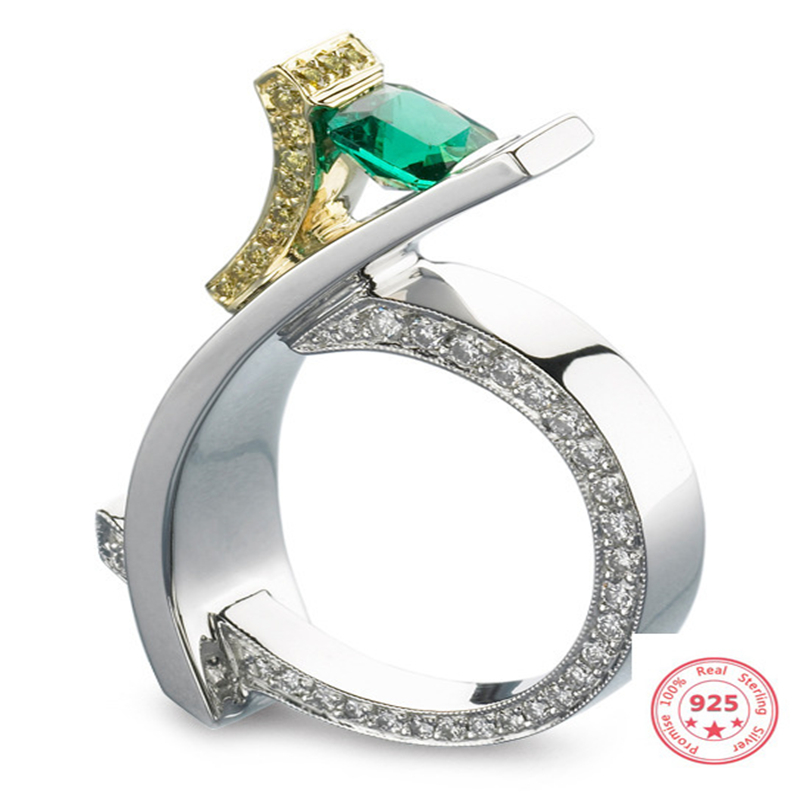 925 Silver Princess Diamond Ring For Women Green Emerald Topaz Bizuteria Anillos De Gemstone Jewelry S925 Silver Jewelry Rings