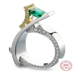 Bague en diamant en argent 925 pour femmes, topaze émeraude verte Bizuteria Anillos De pierres précieuses, bijoux S925
