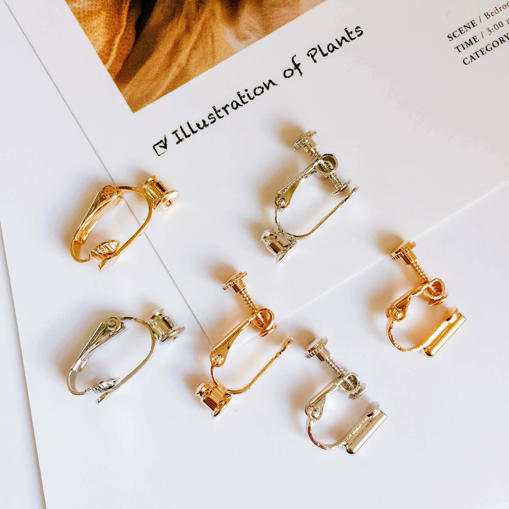 Ear Clip No Hole Without Piercing Adjustable Real Gold Silver Color Plated Earring Base Clips Supplies For Jewelry 6pcs