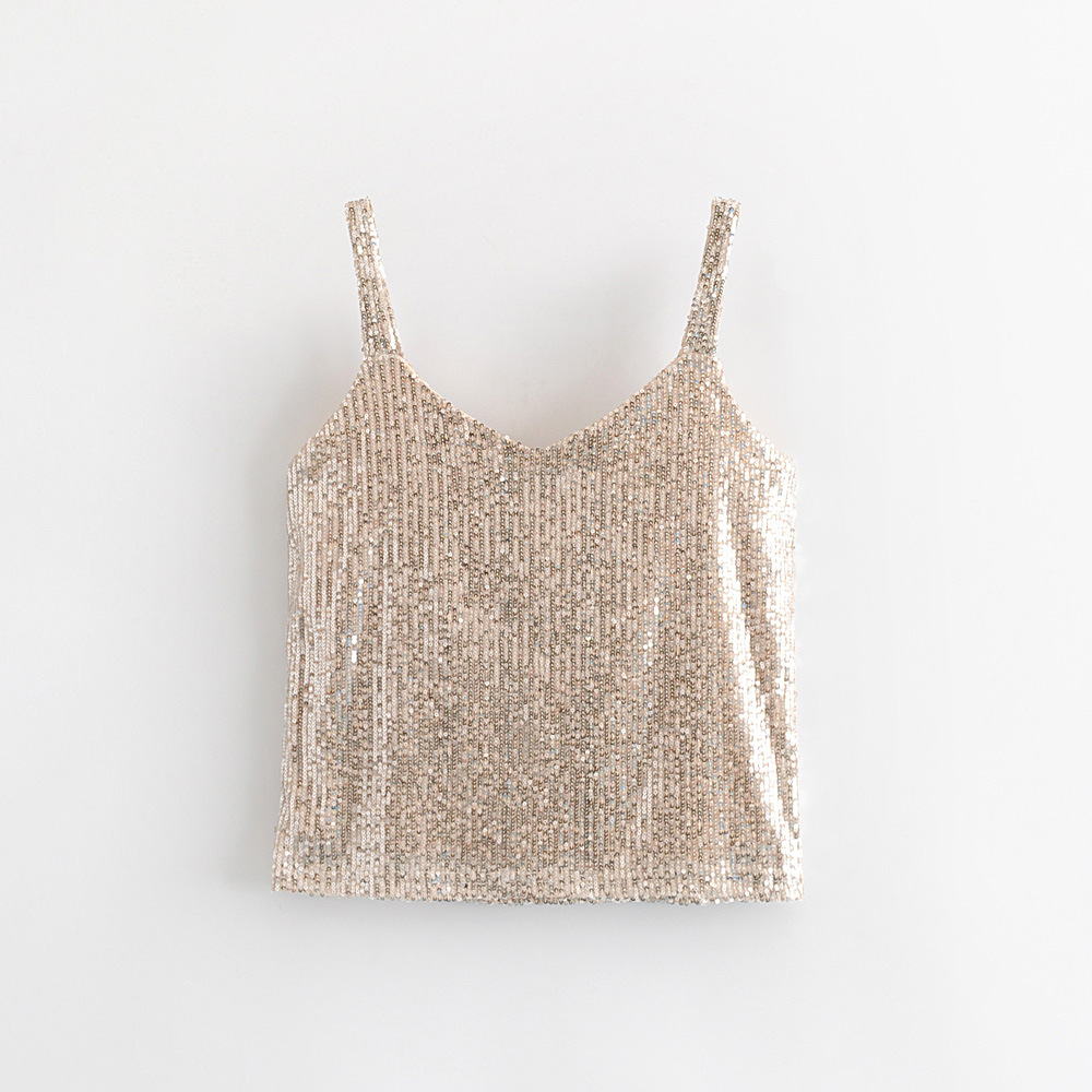 New Sexy Mini Vest Top For Women Summer Party Ladies Elastic Spaghetti Belt Bottoming Tops Joker Sexy V neck Sequins Camisole in Tank Tops from Women 39 s Clothing
