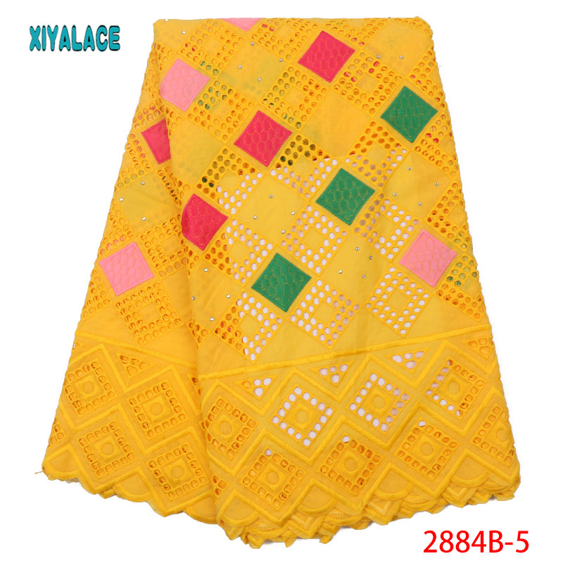 African Lace Fabric 2019 High Quality Voile Lace Fabric Square Embroidery, Square Circle Continuously Empty For Women YA2884B-5