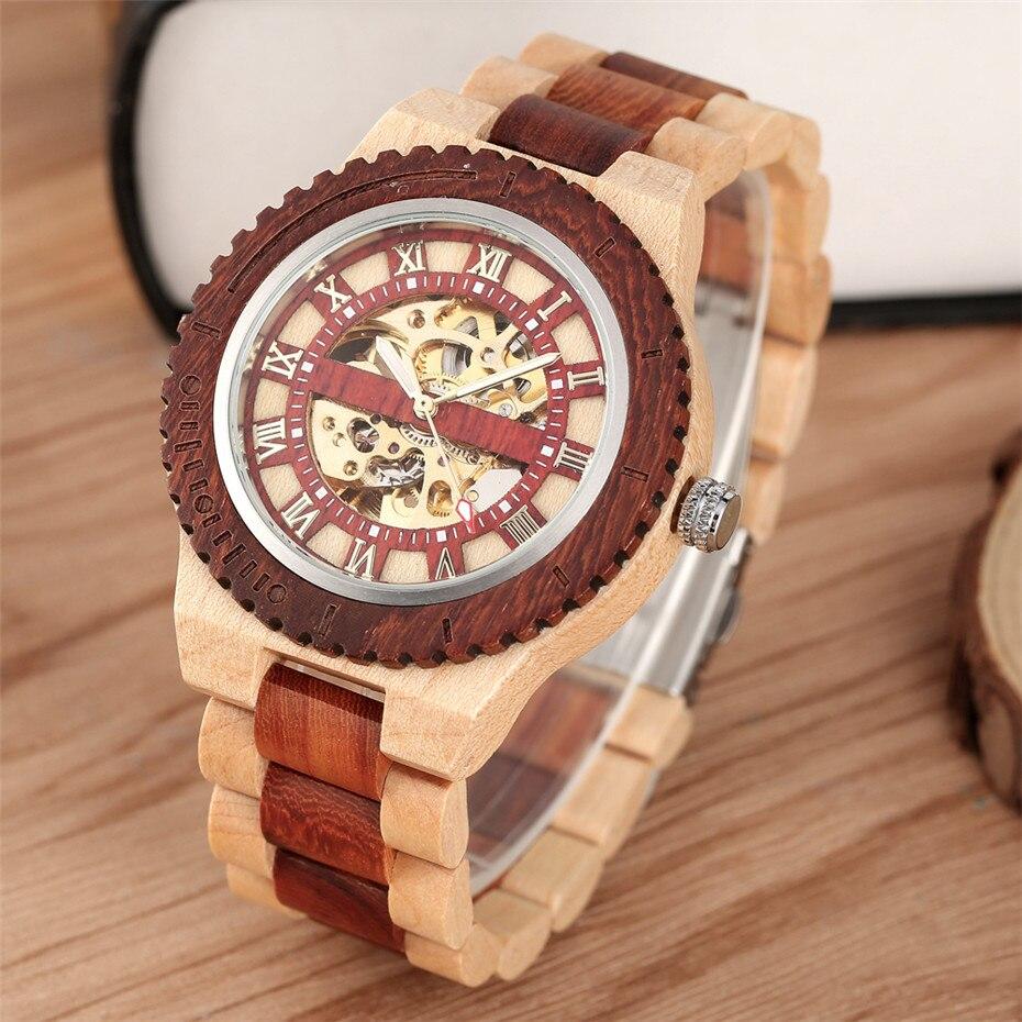 Римские цифры дисплей деревянные мужские часы автоматические механические деревянные наручные часы с браслетом с самообмоткой Эксклюзивн