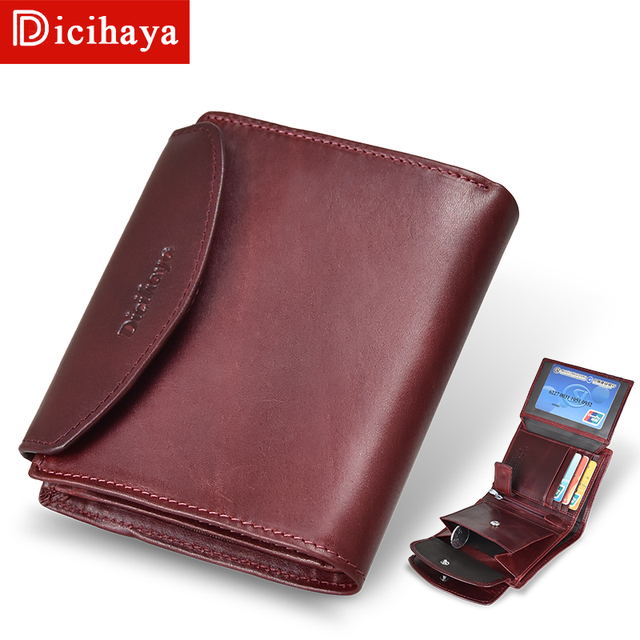 جديد وصول الاتجاه محفظة جلدية حقيقية الإناث المرأة المحفظة محفظة صغيرة جودة محفظة نسائية للعملات المعدنية النساء زر حقيبة مزودة بسحّاب محفظة