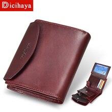 Portefeuille en cuir véritable pour femmes, nouveau, tendance court, porte monnaie de qualité, bouton, sac à main avec fermeture éclair