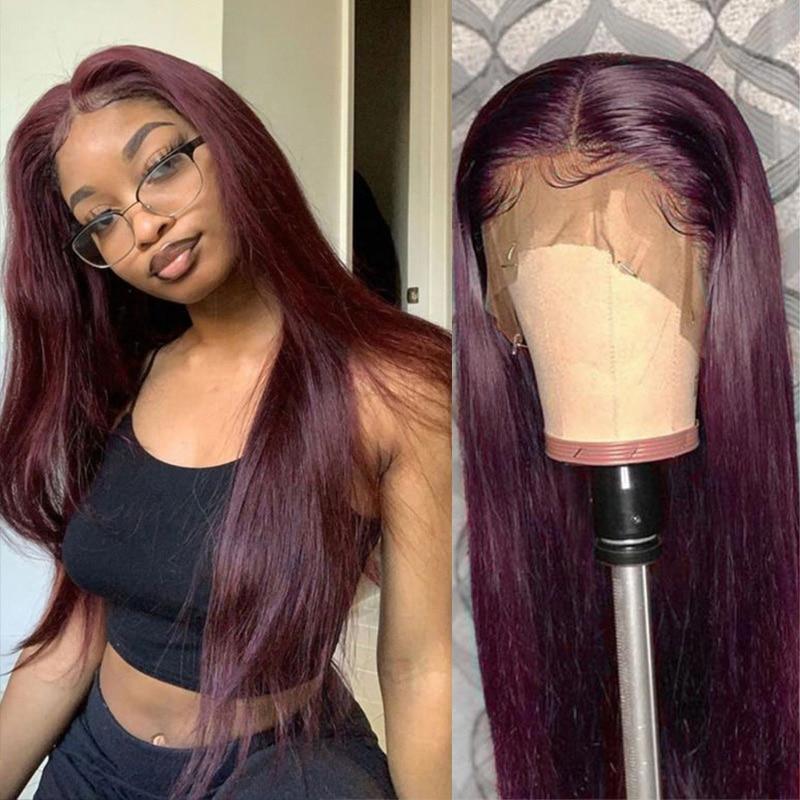 Parrucca anteriore in pizzo Remyblue 13X1 99J parrucche anteriori in pizzo capelli lisci bordeaux rossi 150% parrucche brasiliane Remy capelli umani biondi parrucche profonde