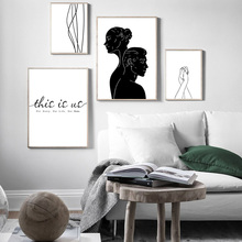 Quotes Print Painting Black And White Canvas Holding Hands Minimalist Poster Nordic Wall Pictures For Living Room