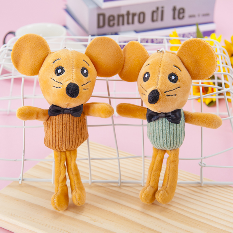 Vertical Striped Brown Mouse Plush Toy Bag Pendant Key Ring Cute Figure Backpack Pendant Gift