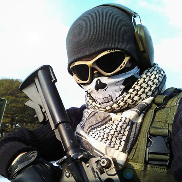 Outdoor Motorcycle Half Face Mask Skull Ghost Moto Mouth Face Masks Balaclava Shield Neck Protective Biker Scarf Masquerade 2