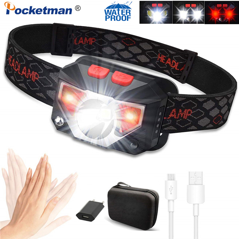 Most Powerful LED Headlamp T6+COB LED Rechargeable Body Motion Sensor Flashlight Head Light Torch Lamp With USB Camping Fish