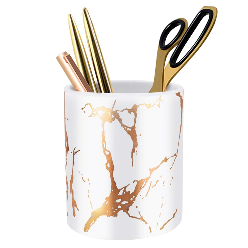 Pen Holder, Stand For Desk Marble Pattern Pencil Cup For Girls Kids Durable Ceramic Desk Organizer Makeup Brush Holder Perfect G