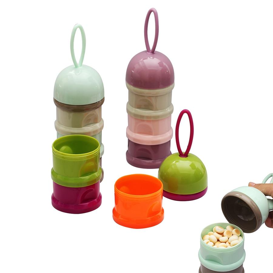 3-layer Baby Feeding Portable Milk Powder Dispenser Food Container Storage Kids Baby Snacks Candy Food Storage Box Bibs New Red