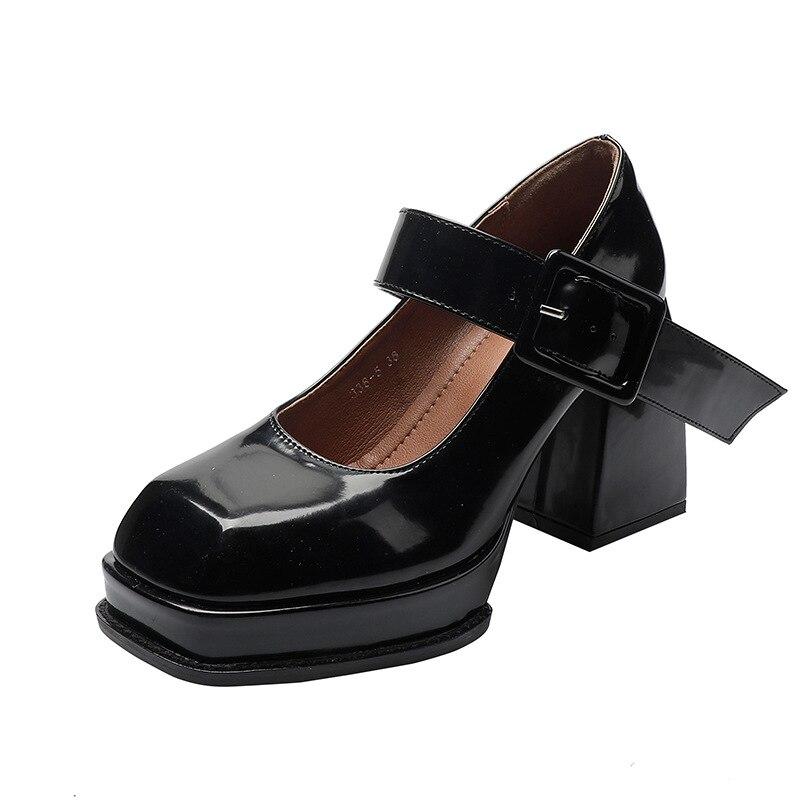 2021 модная обувь Мэри Джейн с квадратным носком с ремешком из PU искусственной кожи (PU) женские туфли-лодочки на платформе; Нарядные вечерние ж...