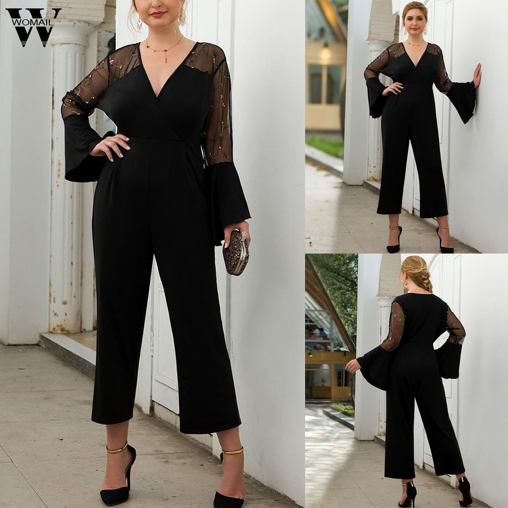 Women Jumpsuit Elegant Contrast Mesh Embroidered Stitching Flared Sleeve Jumpsuit Office Club Party Wide Leg Jumpsuit Plus Size