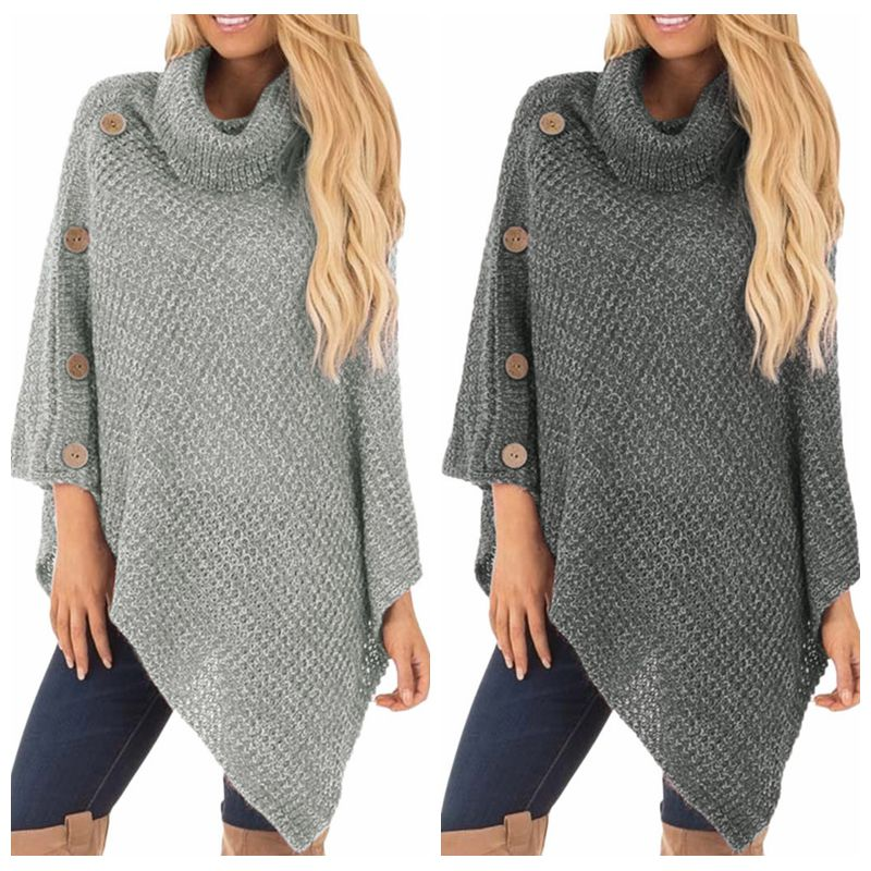 Women's  Knit Turtle Neck Poncho With Button Irregular Hem Pullover Sweaters кардиган женский Winter Clothes Women
