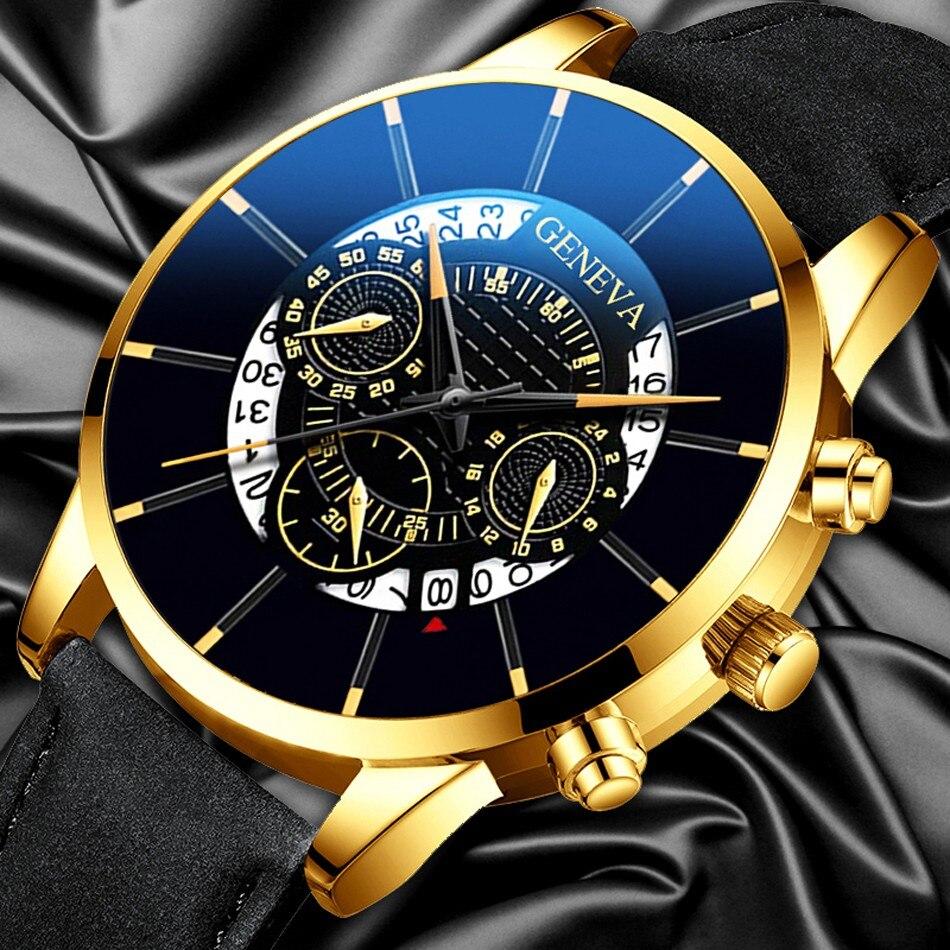 relogio masculino Watch Men Fashion Military Sport Leather Band Quartz Wrist Watch Male Business Casual Watches reloj hombre(China)