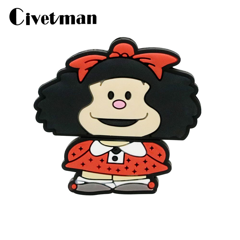 Lovely USB Flash Drive Mafalda USB 2.0 Pen Drive 128GB Usb Stick 256GB Pendrive 64GB Flash Card 32GB Flash Memory Stick Disk
