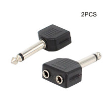 2pcs/pack Easy Use Headphones Home Portable Socket Audio Adapter 6.35mm Mono Male To Dual 3.5mm Y Splitter Converter Video(China)