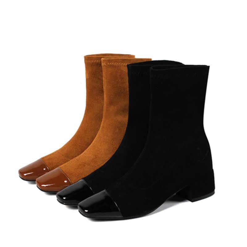 MEMUNIA 2020 yeni varış kadın yarım çizmeler akın kayma Streç çizmeler kare topuklu basit rahat ayakkabılar bayanlar büyük boy 43