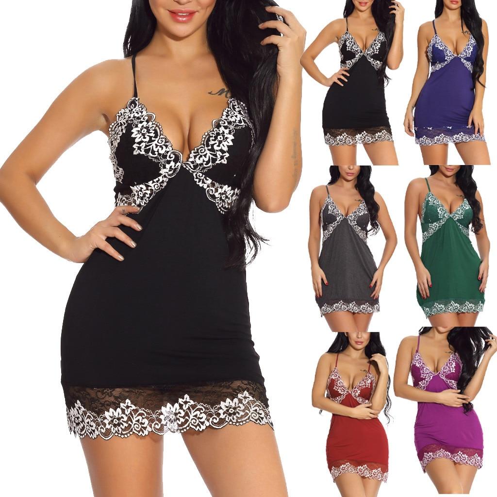 Hot Women V-Neck   Nightgowns  &  Sleepshirts   Female Sleeveless Nightdress Robe Skirt Homewear Suit Mujer Sexy Lace Soft Lingerie 2019