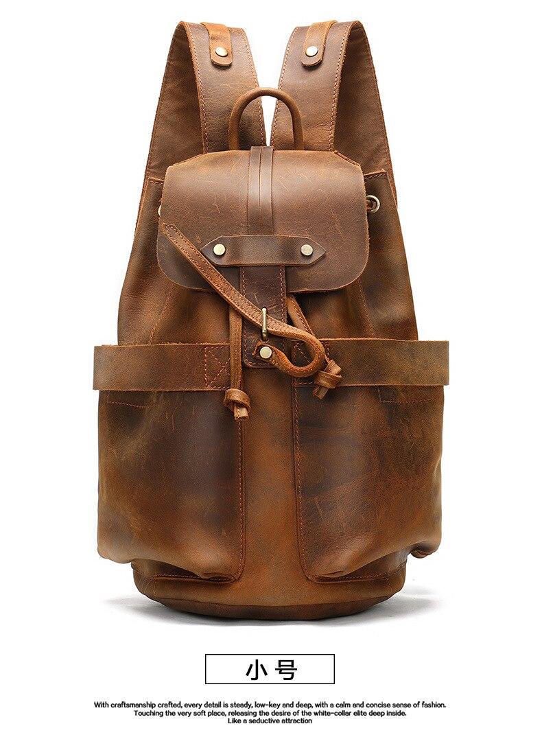 Мужской кожаный рюкзак, винтажный водонепроницаемый рюкзак в стиле ретро, 2019