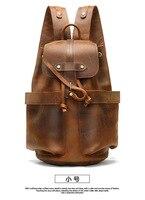 Vintage Leather Backpacks Men bag solid Large Waterproof Daypacks Retro back pack male Bagpack 2019 New School Bags Rucksack