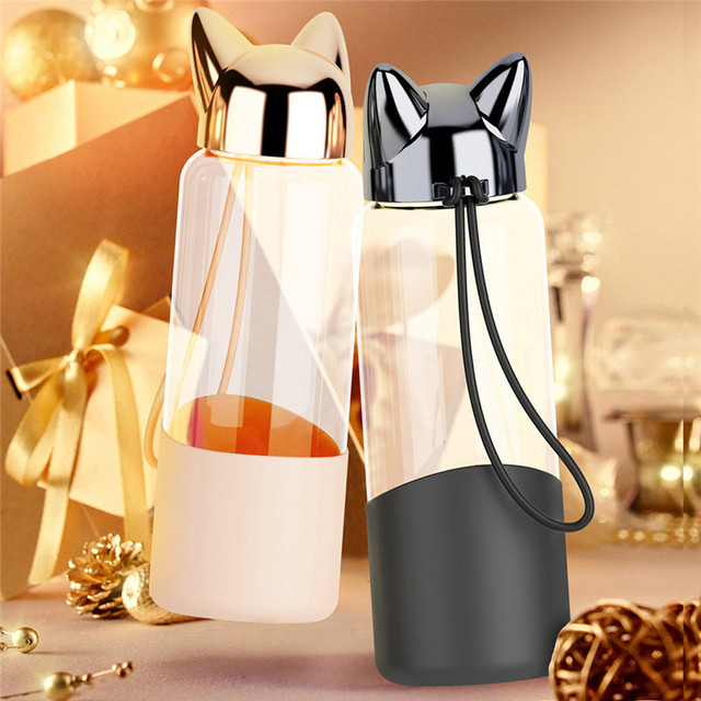 Portable Cute Fox Glass Water Bottle BPA Free 320ML Transparent Bottle For Water Bicycle Tour Sport Style Non-slip Drinkware @C 6