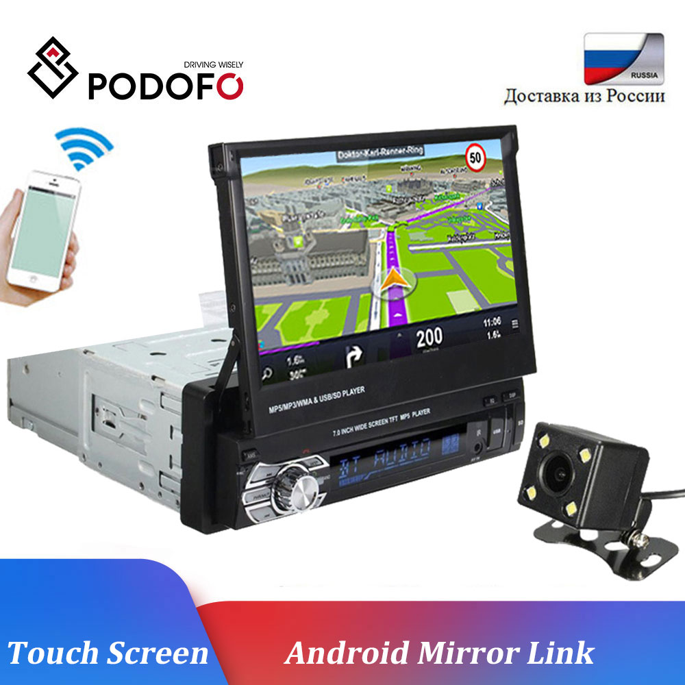 Podofo Car Radio GPS Auto Radio 7HD Autoradio Bluetooth Audio Radio 1 Din Car MP5 Player SD FM USB AUX Car Stereo 12V Radio Car image